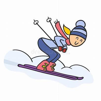 Skier Sciatore Doodle Skiing Scarabocchio Cartoon Disegno
