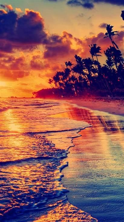 Tropical Sunset Iphone Beach Golden Wallpapers 4k