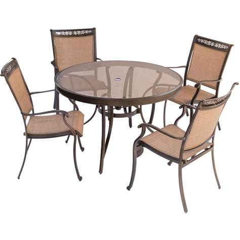 round glass top outdoor table hanover fontana 5 piece aluminum round outdoor dining set