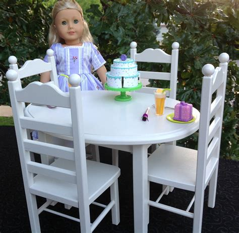 american doll furniture oval table and 4 chair set