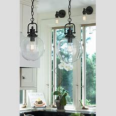 Clear Glass Globe Industrial Pendant  Crystal & Clear
