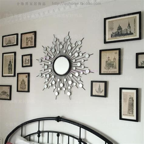 metal wall mirror decor modern mirrored wall wire wall decorative sunburst mirror