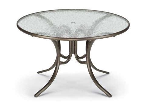 round glass patio table with umbrella hole telescope casual glass top 48 round dining table with