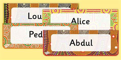 editable aboriginal style border desk labels