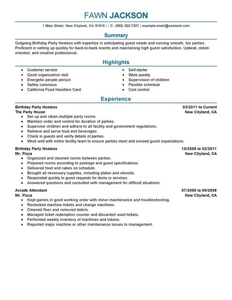 Handing In A Resume What To Say by Best Birthday Host Resume Exle Livecareer
