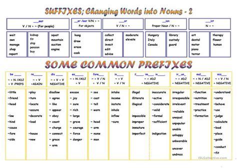 prefixes  suffixes worksheet  esl printable
