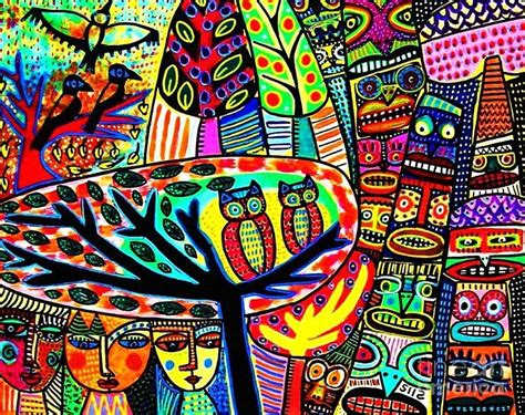 owl lovebirds in totem pole forest painting by silberzweig