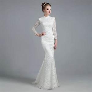 White Vintage Lace High Neck Long Sleeves Mermaid Wedding