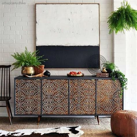 african tribal batik allover wall stencil royal design