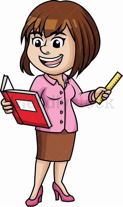 Clipart Female Teaching Woman Teacher Cartoon Professor