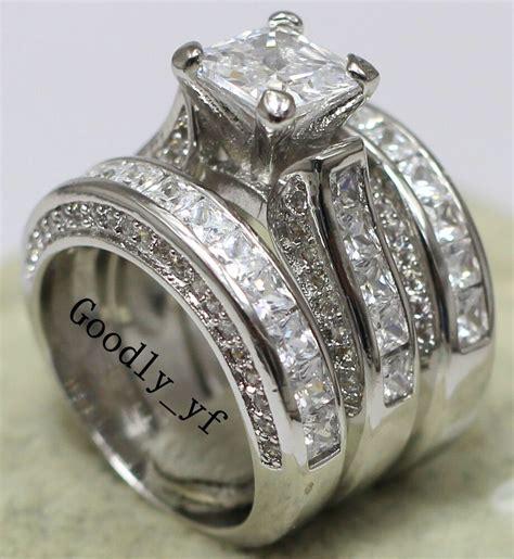 princess cut 7mm topaz 14k white gold filled women wedding band ring 3 in 1 ebay