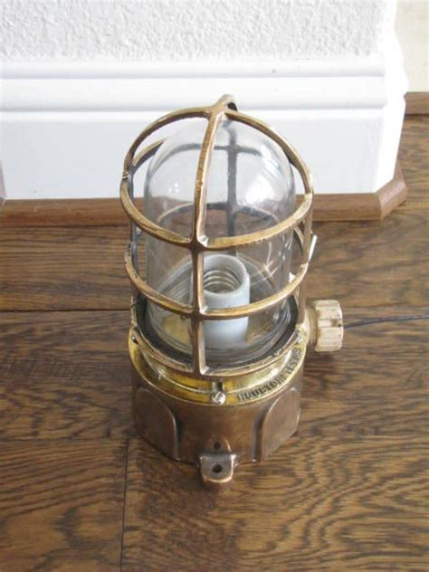 antique brass passageway light ship salvaged engraved