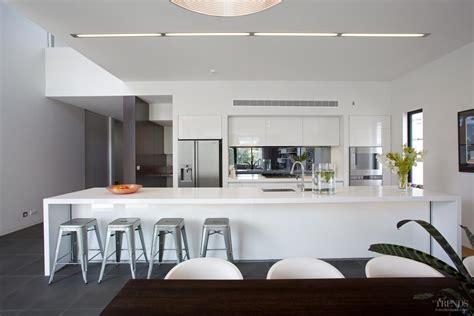sleek white kitchen design   house   long island