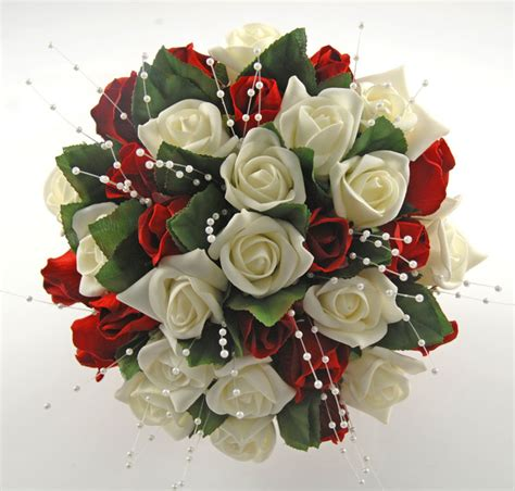 silk red ivory foam rose wedding bouquet  pearl