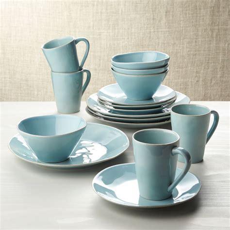marin blue  piece dinnerware set reviews crate