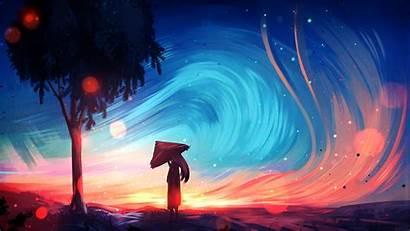 Digital Fantasy Landscape Wind Hair Trees Ryky