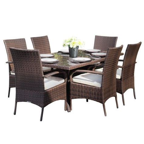 All Weather Garden Furniture Sets by Kingston 6 Seat Brown Rectangular Outdoor All Weather