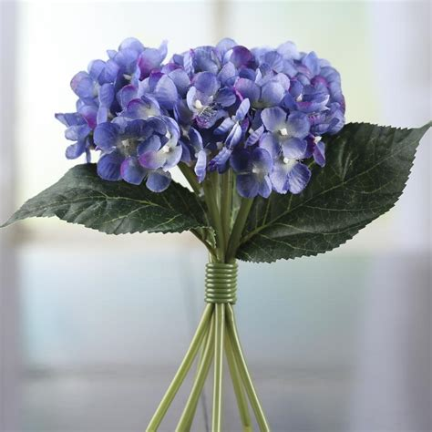 periwinkle artificial hydrangea bouquet bushes
