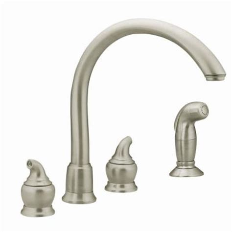moen kitchen faucets home depot moen monticello 2 handle kitchen faucet in stainless steel