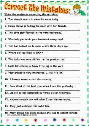 correct  mistakes grammar exercises english grammar