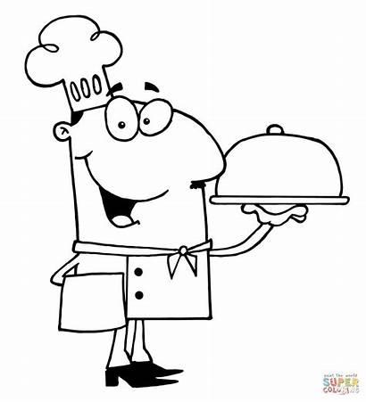 Chef Clipart Serving Colorare Cuoco Koch Cena