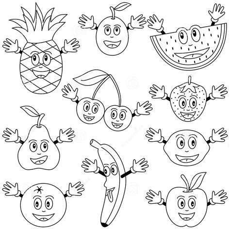 cartoon fruits coloring pages crafts  worksheets