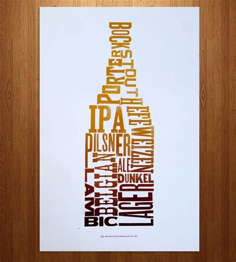 Beer Type Letterpress Print   Art Prints & Posters