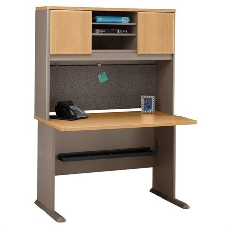 light wood office desk series a 48 quot wood office desk with hutch in light oak