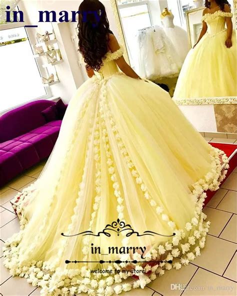 yellow ball gown quinceanera dresses  hand