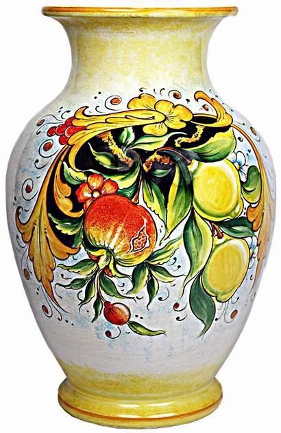 Vase Italian Ceramic Ceramics Deruta Lemons Flower