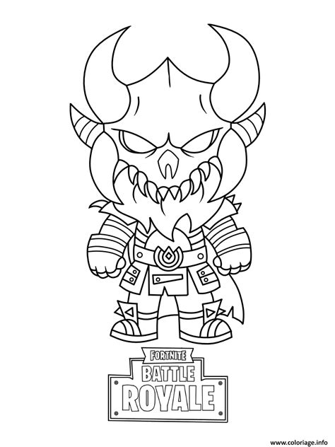coloriage fortnite mini cute  dark viking dessin