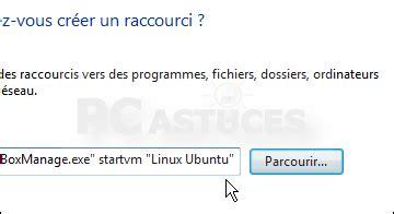 raccourci bureau ubuntu créer un raccourci vers une machine virtuelle windows