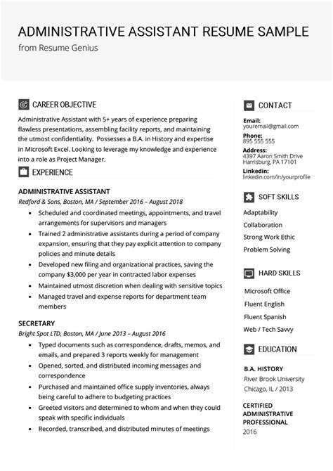 admin assistant resume template mt home arts
