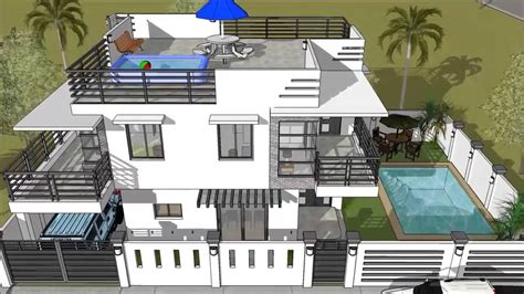 modern  storey house  roofdeck swimming pool youtube