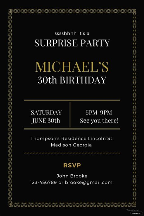 surprise party invitation template  adobe