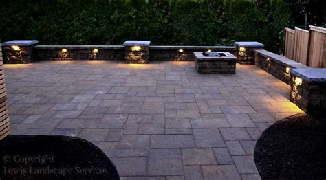 paver patio seat wall columns fire pit lighting lewis landscape services