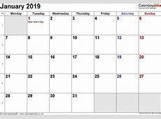 January 2019 Calendar With Holidays happyeasterfromcom