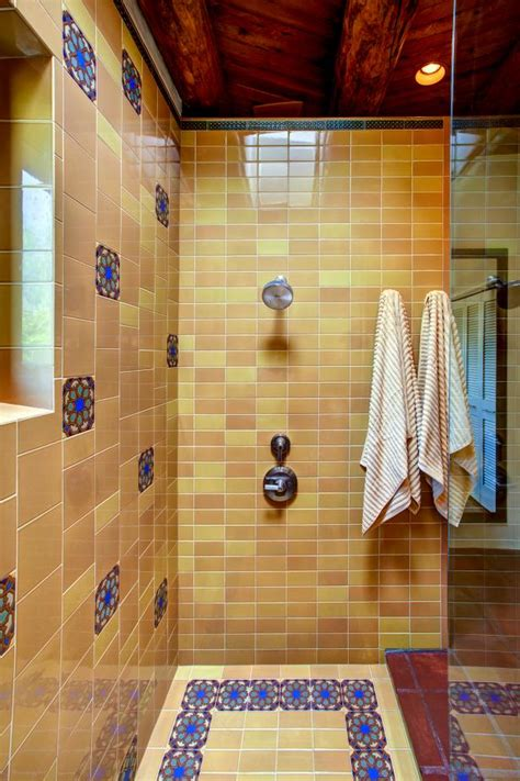 transitional southwestern tile bathroom  stand