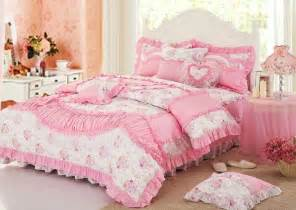 white pink lace princess bowtie ruffled bedding bedding sets