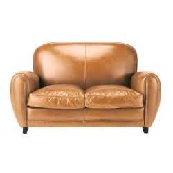 sofa vintage leder vintage sofa 2 sitzer aus leder cognac oxford maisons du monde