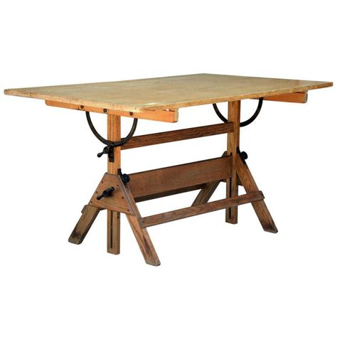 vintage articulated oak  maple drafting table