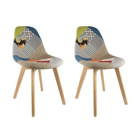 lot de 2 chaises design scandinave patchwork coloré