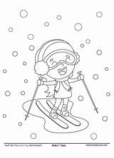Coloring Skiing Snow Cartoon Fun Sheet Kidzezone Worksheet Pdf sketch template