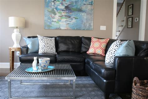 Decorating Ideas For Leather Living Room by Sunroom Black Leather Couches Decorating Ideas
