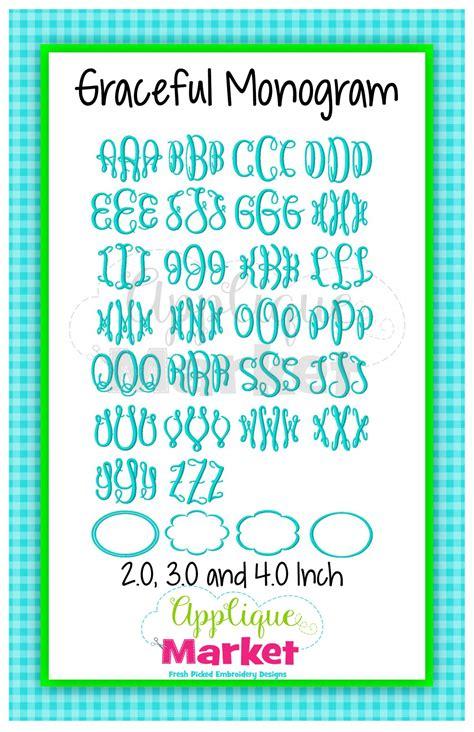 graceful monogram alphabet applique design