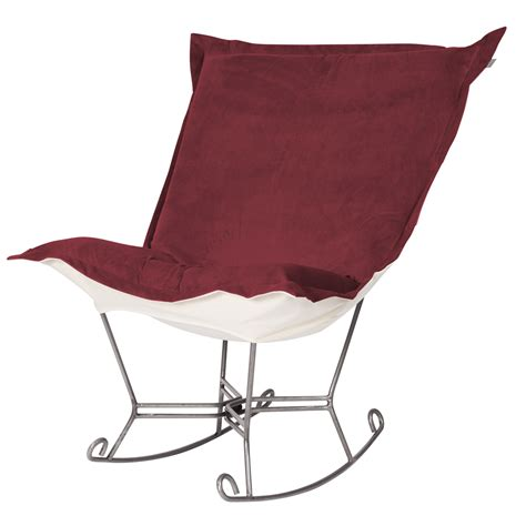 chicago textile puff rocker merlot