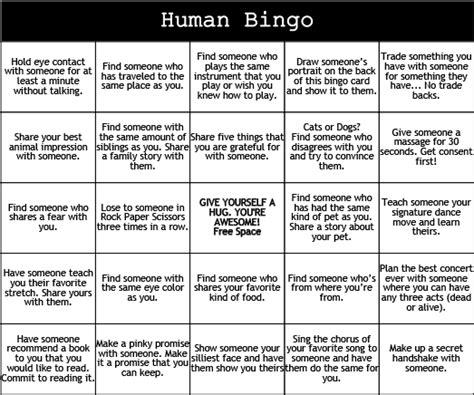 print play human bingo camp grounded