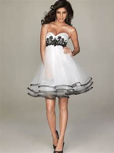 short black and white wedding dress with sweetheart With short black wedding dresses