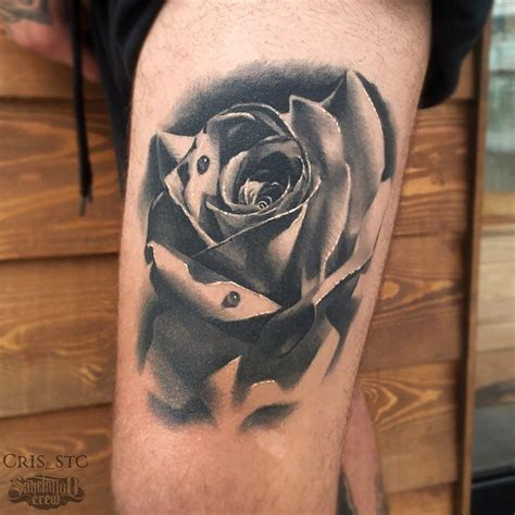 realistic rose tattoo  cris realism realistic black grey rose thigh cris