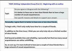 toefl ibt independent essay sample topic how to outline With toefl writing template independent